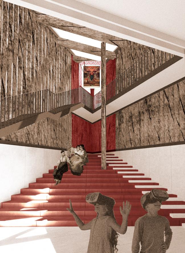 Музейный комплекс «Водные пути Севера». Интерьер северо-восточного угла здания. Красный угол