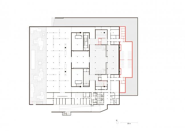 Новая Национальная галерея – реконструкция. Красным показаны изменения исторического здания при реконструкции