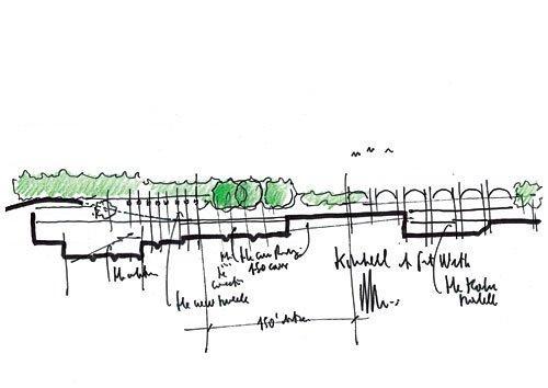 Музей искусств Кимбелла – новый корпус. Эскиз проекта © Renzo Piano Building Workshop