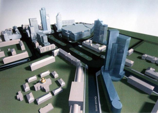 Концепция развития города в районе площади Лядова. Вид со стороны Окского съезда