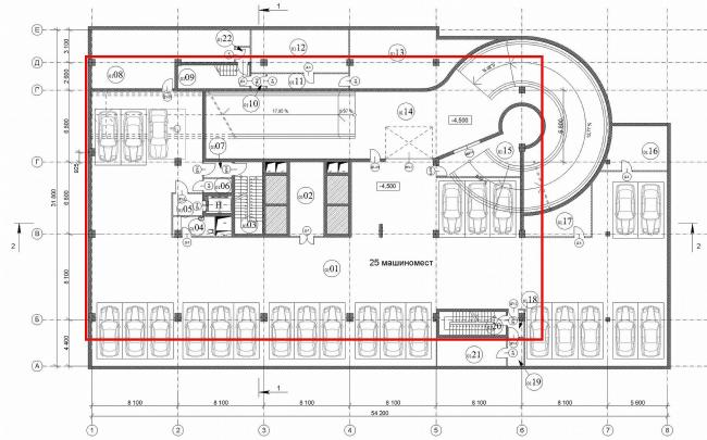 План 1 этажа паркинга
