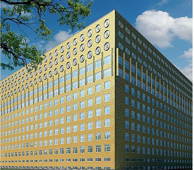 ЗОЛОТОЙ ЧЕМОДАН  «Что-то новое, нетрадиционное должно быть в каждом проекте. Например, в обращении с материалом или в самом орнаменте», — утверждает Чобан. И следует своему кредо. Огромный куб бывшей больницы он облицевал алюминием с золотым напылением. Здание видно издалека, рельефный металл сияет, привлекая к себе внимание. На фото — офисный центр «Обухов», Санкт-Петербург.