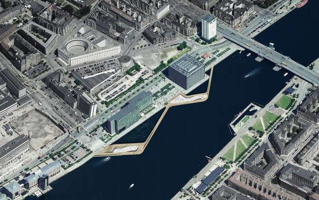 Набережная Кальвебод Брюгге - реконструкция. Рендер © JDS Architects