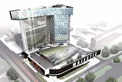 Многофункциональный торгово-офисный комплекс с гостиницей и подземным гаражом-стоянкой (на месте Черемушкинского рынка). Вид комплекса сверху. 3-D визуализация
