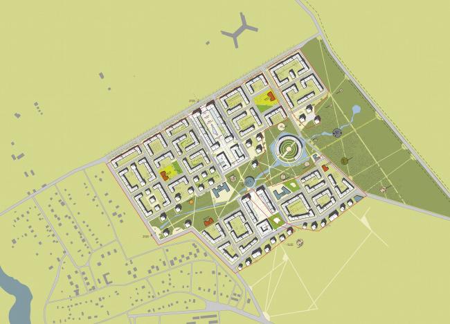 """Генеральный план жилого комплекса """"Gardens of cultures"""" на Пятницком шоссе. Мастерплан с островом"""