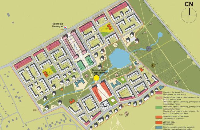 """Генеральный план жилого комплекса """"Gardens of cultures"""" на Пятницком шоссе. Мастерплан: функциональные зоны"""