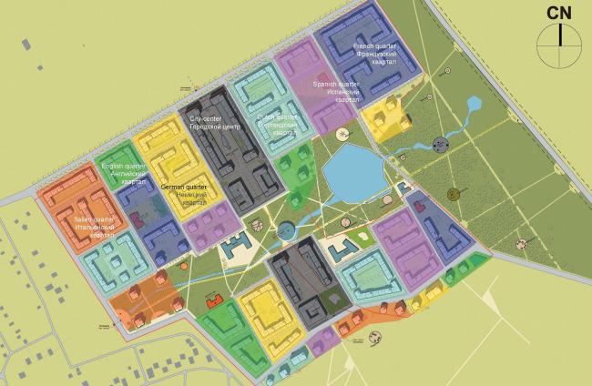 """Генеральный план жилого комплекса """"Gardens of cultures"""" на Пятницком шоссе. Мастерплан: стили"""