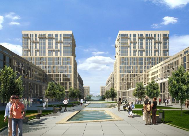 """Генеральный план жилого комплекса """"Gardens of cultures"""" на Пятницком шоссе. Главная площадь"""