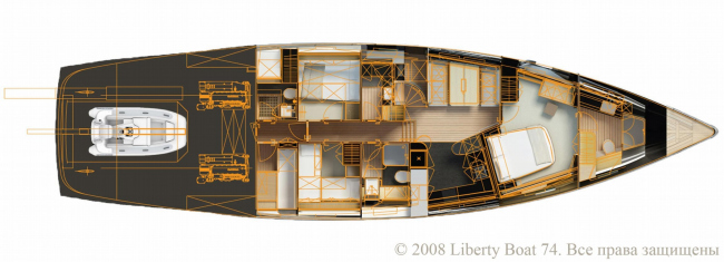 План. Яхта Liberty Boat 74 © ABD architects