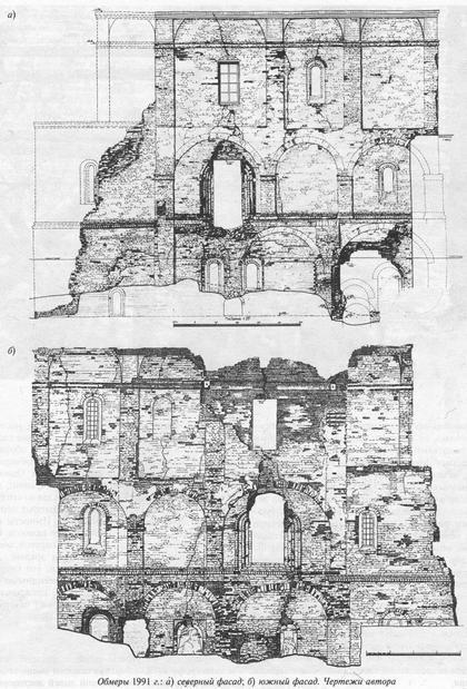 Обмеры 1991 года: а) северный фасад; б) южный фасад. Чертежи автора.
