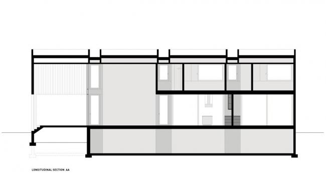 Вилла Цай. Разрез по продольной оси © HHF Architects