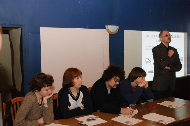 Слева направо: Марина Хрусталева (MAPS), Юлия Мезенцева («Москва, которой нет»), Константин Михайлов («Против лома»), Александр Можаев («Архнадзор»), Рустам Рахматуллин