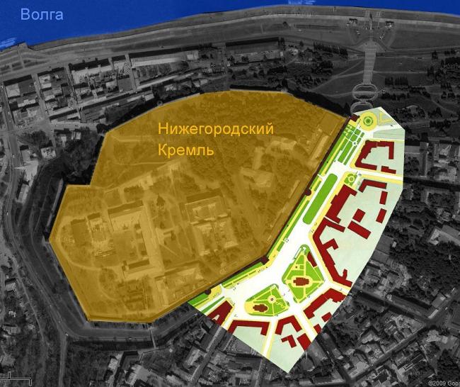 Схема генплана, наложенная на карту Google. Хорошо видно, ЧТО это за место