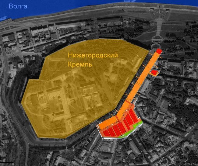 План подземной части, наложенный на карту Google. Видно, ГДЕ будут копать (парковка под площадью, прямо перед кремлевскими стенами, ТЦ под сквером; 3 подземных яруса)