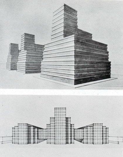 Альберто Сарторис. Группа зданий центральных издательств. Проект. 1920