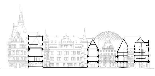 Перекрытие Малого двора замка в Дрездене. Проект