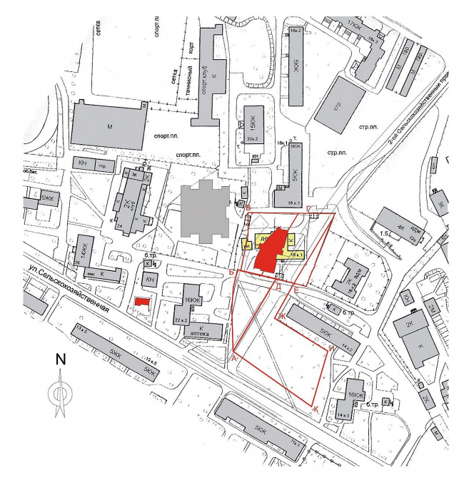 Жилой комплекс с подземной автостоянкой на улице Сельскохозяйственной. Ситуационный план © Алексей Бавыкин и партнёры