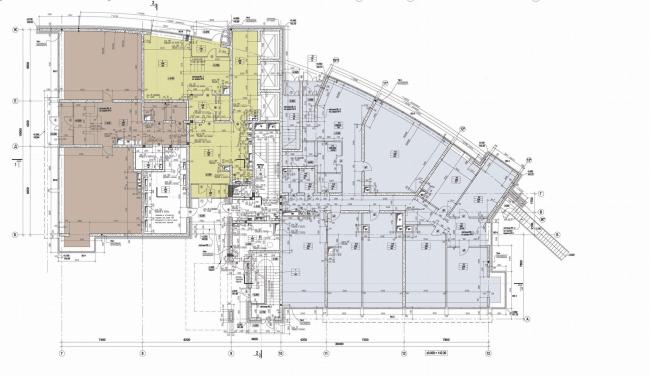 Жилой комплекс с подземной автостоянкой на улице Сельскохозяйственной. План 1-го этажа © Алексей Бавыкин и партнёры