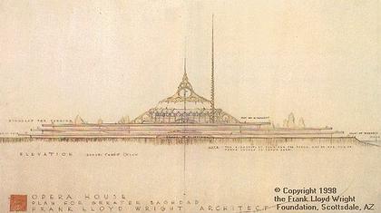 Проект Оперы в Багдаде (Crescent Opera Civic Auditorium), архитектор Фрэнк Л. Райт (Frank Lloyd Wright). Изображение: geocities.com