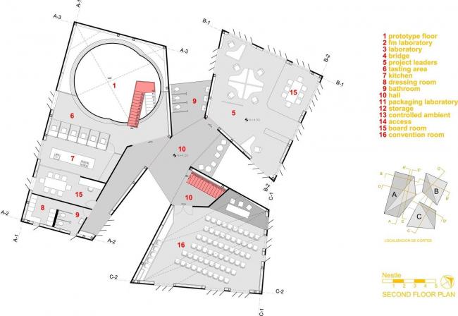 Комплекс Nestle Application Group. План второго этажа © Rojkind