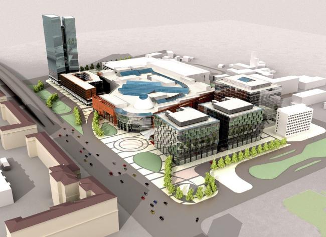 Проект «Метрополис» ABD architects. 2006. Вчерне нарисованные архитекторами ABD высотки слева, в центре торговый комплекс, справа – бизнес-парк