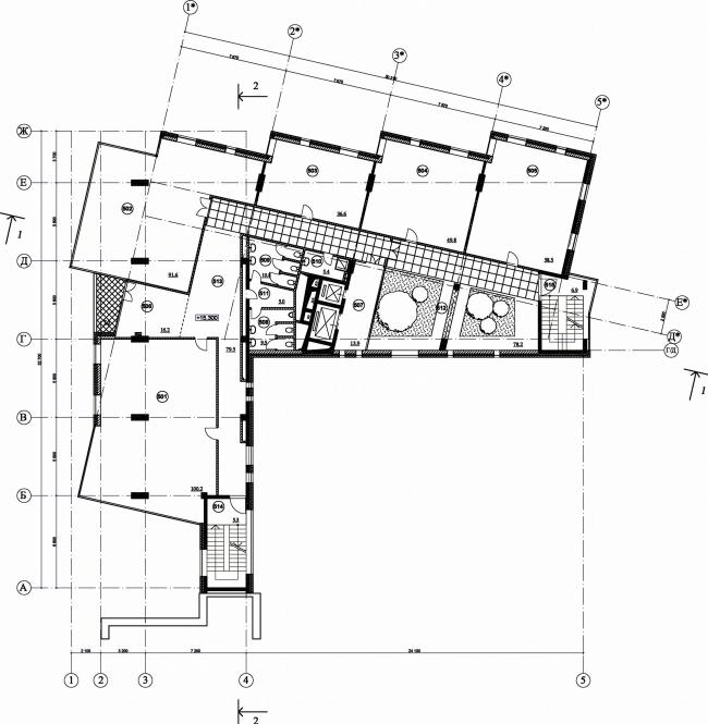 Административное здание с подземной автостоянкой на ул. Большая Дмитровка, 16. План 5-го этажа © Александров и партнеры