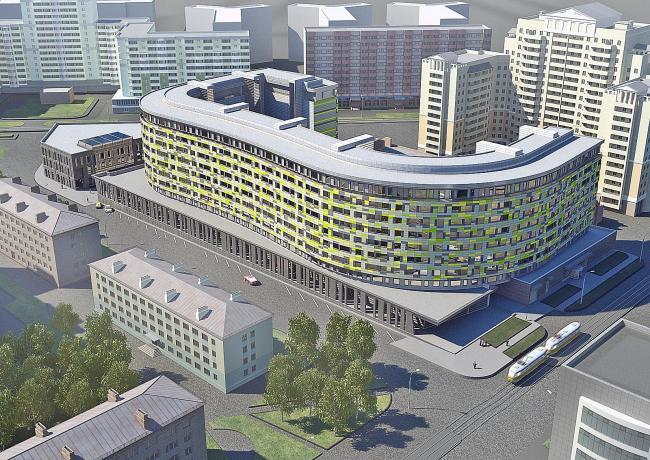 Жилой дом с развитым блоком обслуживания в Новосибирске