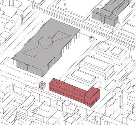 Музей Брандхорст (на схеме отмечен красным; серый блок слева - Пинакотека современного искусства; в правом верхнем углу - Старая Пинакотека).