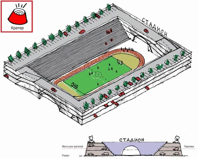 Парковка + стадион (кратер)