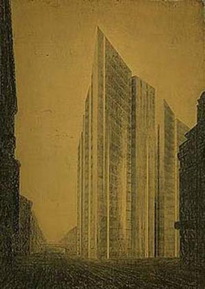 Людвиг Мис ван дер Роэ. Проект здания для Фридрихштрассе. 1921 (собрание MOMA, Нью-Йорк)