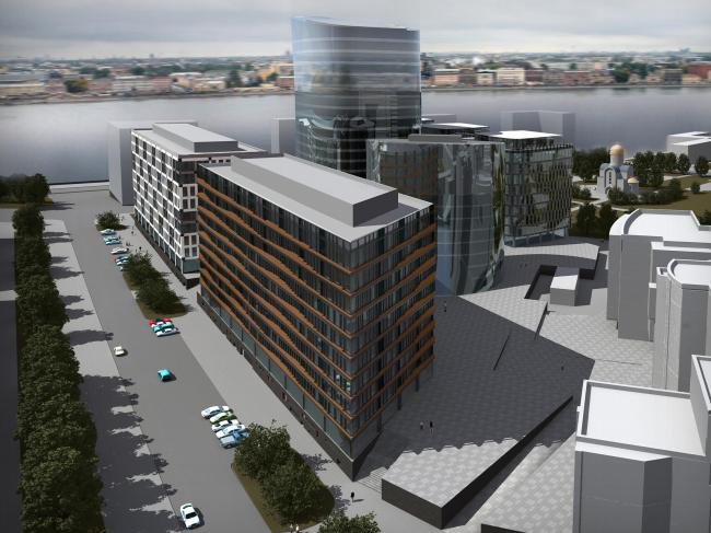 Ядро комплекса, расположенное в глубине квартала – стеклянная башня, окруженная корпусами с разными фасадами. «Евгений Герасимов и партнеры»
