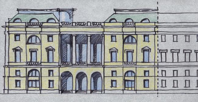 Эскиз. Гостиница на площади Островского, 2008 © «Евгений Герасимов и партнеры»