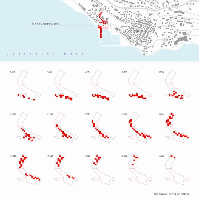 Поэтажные схемы комплекса. 29 PALMS, Черногория (Twentynine Palms Housing & Hotel, Herceg Novi) © Купцов, Гикало и партнеры