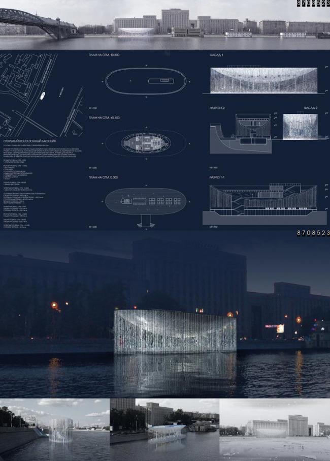 Открытый всесезонный бассейн. ГУП МНИИП «Моспроект-4». Изображение предоставлено Ц:СА