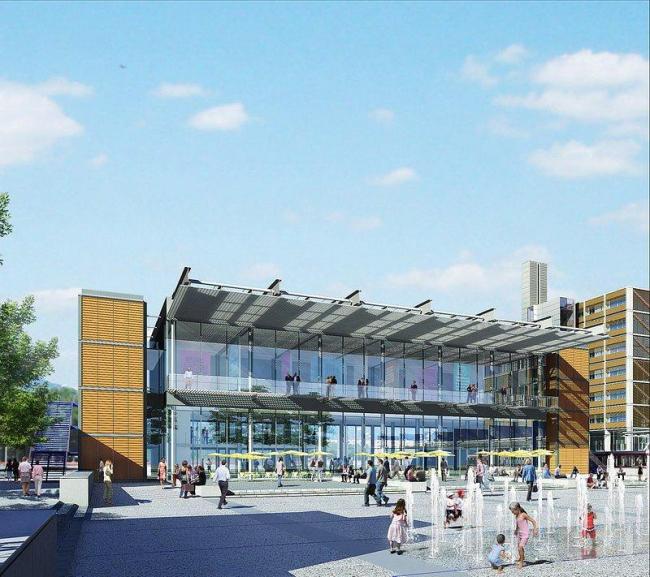 Новый общественный центр и станция скоростного трамвая. Здание культурного центра