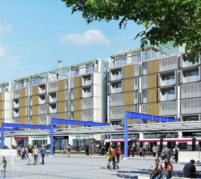 Новый общественный центр и станция скоростного трамвая. Жилой дом и станция трамвая