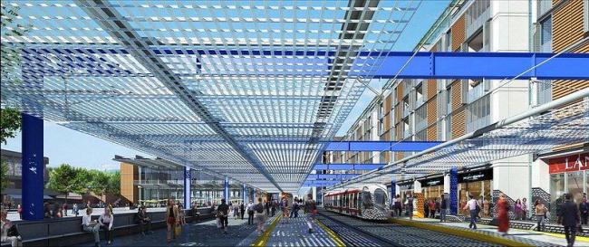 Новый общественный центр и станция скоростного трамвая. Станция трамвая