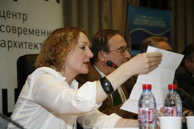 Директор Ц:СА Ирина Коробьина на пресс-конференции по объявлению результатов конкурса. Фотография - Ц:СА