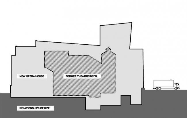 Уэксфордский оперный театр. Разрез нового театра по сравнению с Королевским театром (заштрихованная зона)
