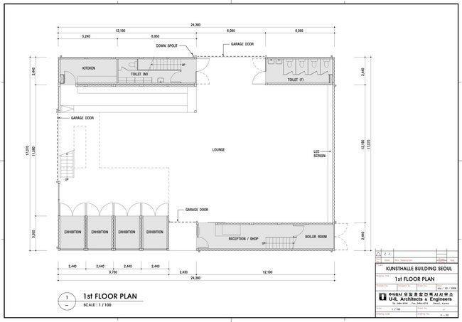 Центр Platoon Kunsthalle. План 1-го этажа © GRAFT