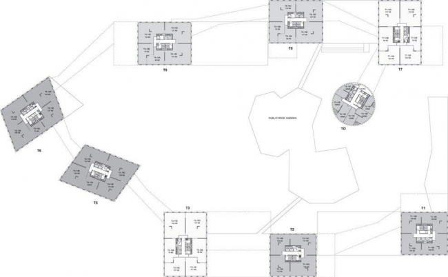Комплекс Linked Hybrid. План типового этажа © Steven Holl Architects