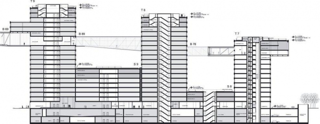 Комплекс Linked Hybrid. Разрез © Steven Holl Architects