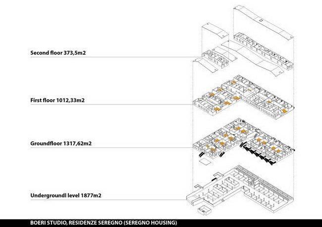 Жилой комплекс Сереньо. Схема этажей (включая подвал) © Stefano Boeri Architetti