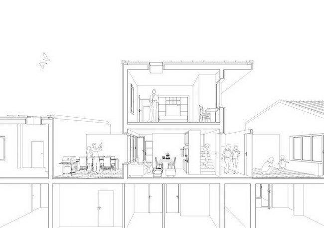 Жилой комплекс Сереньо. Аксонометрический разрез секции © Stefano Boeri Architetti