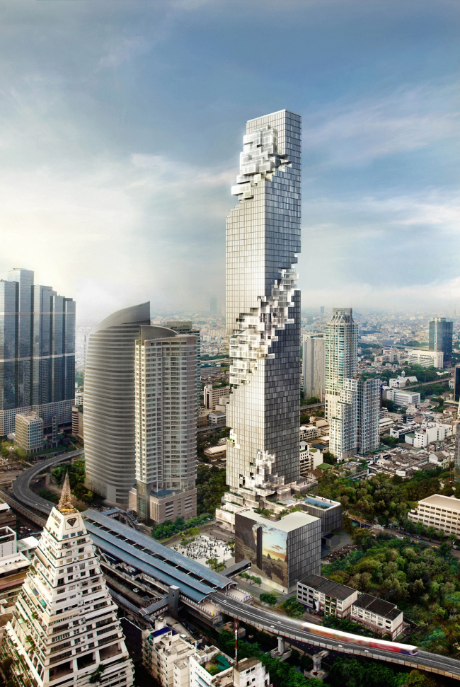 Башня Mahanakhon. Авторы: Buro Ole Scheeren Group в лице бюро HLS