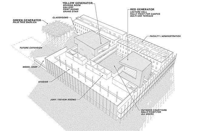 Архитектурная школа Пола Л. Сехаса, Международный университет Майами. Аксонометрия © Bernard Tschumi Architects