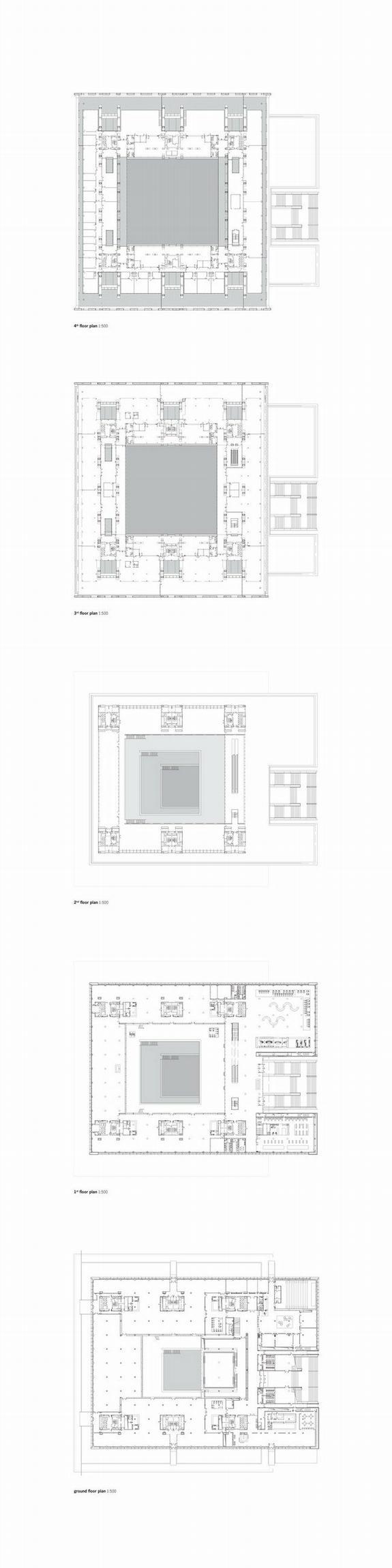 Национальная библиотека Китая – новый корпус. Планы этажей © KSP Jürgen Engel Architekten