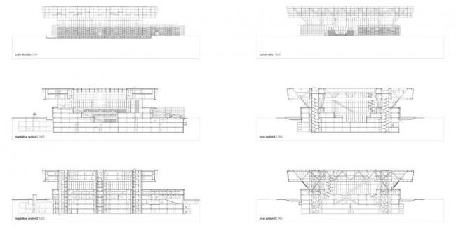 Национальная библиотека Китая – новый корпус. Разрезы © KSP Jürgen Engel Architekten