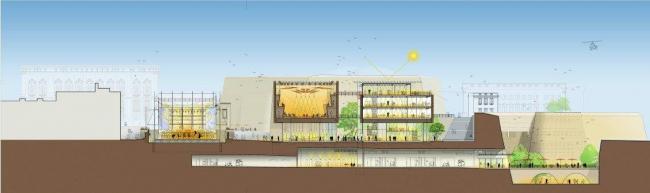 Валлетта – реконструкция исторического центра. Продольный разрез ансамбля © RPBW