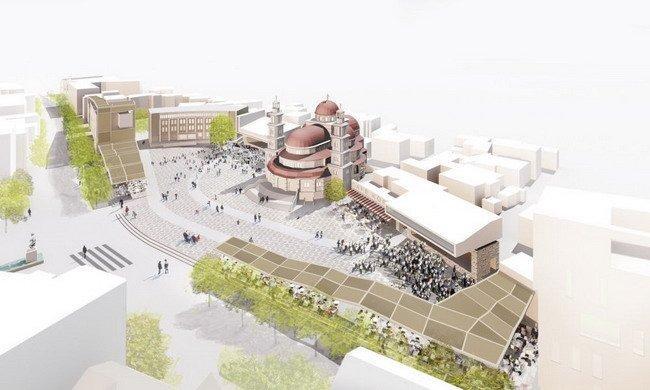 Генплан центра города Корча. Зона 1 - пространство для общественных мероприятий у собора